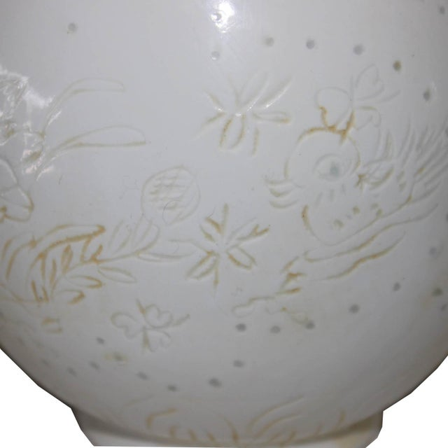 white etched porcelain ming vase image 5 of 6