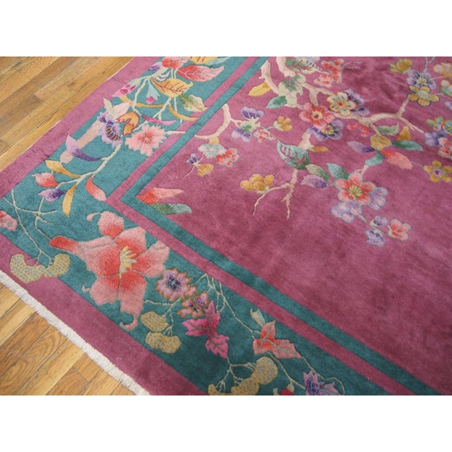 """Antique Chinese Art Deco Rug 9'0"""" X 11'8"""" For Sale - Image 4 of 7"""