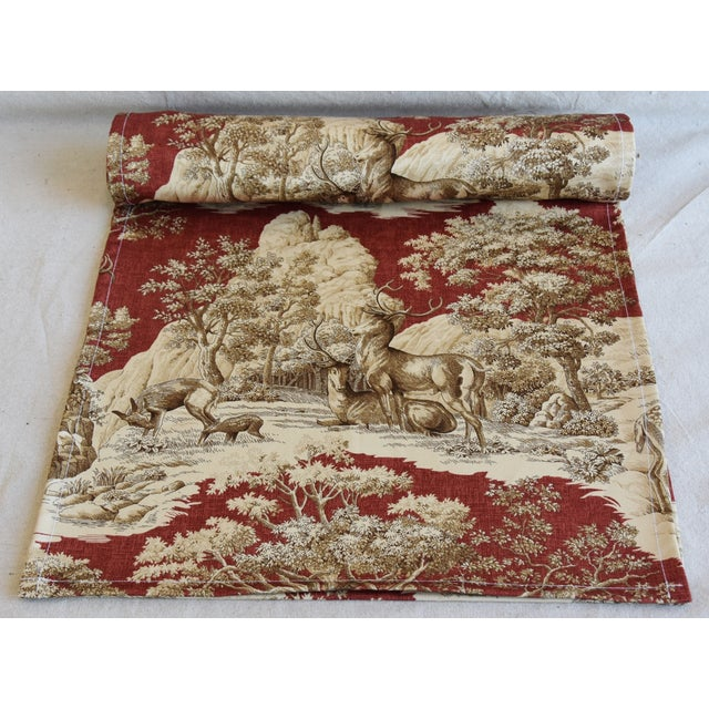 "Custom tailored 110"" long table runner created from a vintage/never used toile fabric depicting a beautiful festive..."