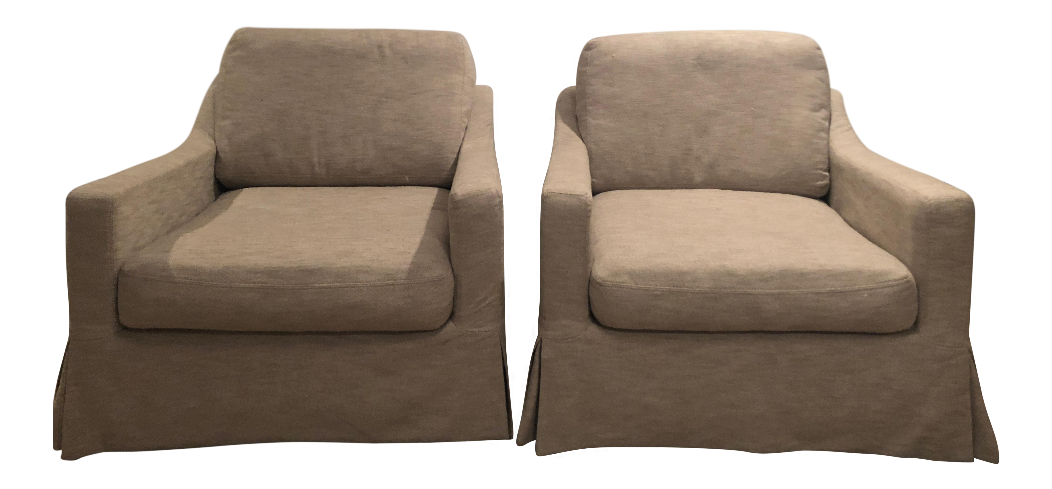 Down-Filled Swoop Arm Chairs - A Pair  sc 1 st  Chairish & Down-Filled Swoop Arm Chairs - A Pair | Chairish