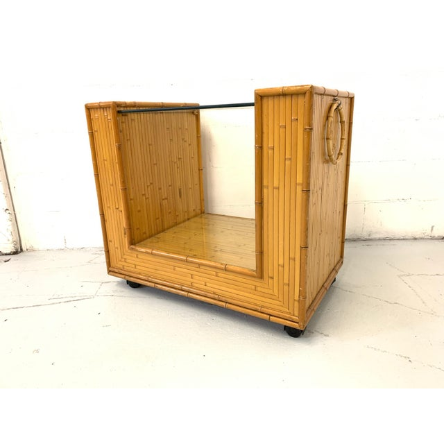 Brown Mid Century Split Reed Rattan Bar Cart For Sale - Image 8 of 9