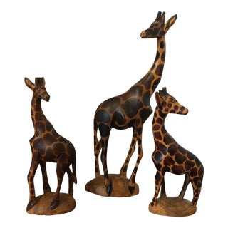 Mid Century Wood Giraffe Figurines - a Pair For Sale