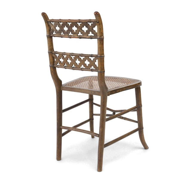Pair of Regency Faux Bamboo Chairs For Sale - Image 4 of 9