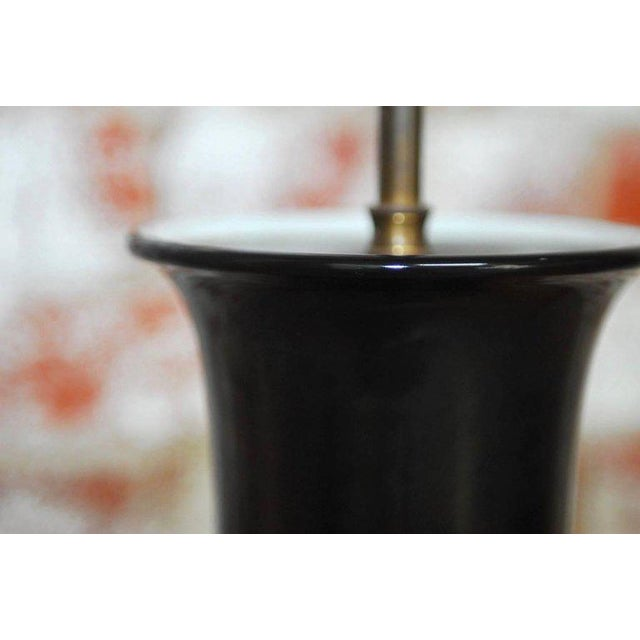 Chinese Black Noir Porcelain Vase Table Lamps - A Pair For Sale - Image 10 of 10