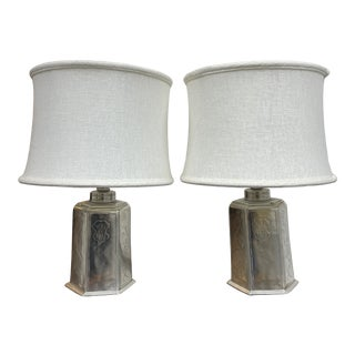 Asian Style Etched Flora Pewter Table Lamps - a Pair For Sale