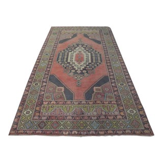 """Antique Faded Oushak Turkish Handmade Rug-4'10x9'5"""" For Sale"""