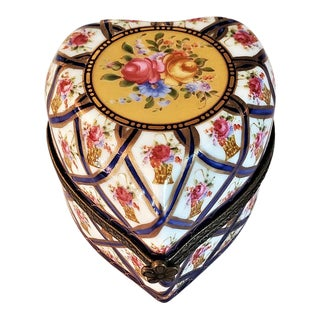 Vintage Sevres Style Heart Shaped Perfume Box For Sale