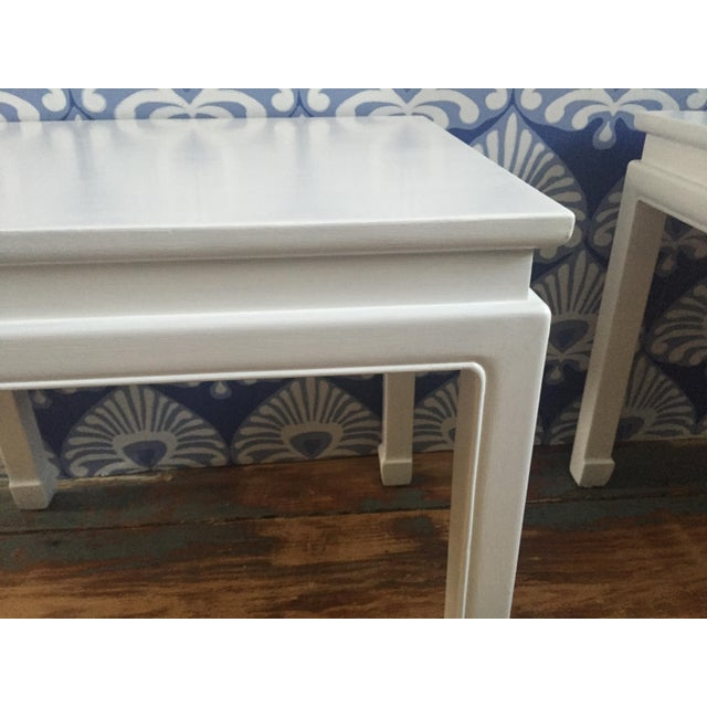 """Asian Chinoiserie """"Ming"""" Style Pair of Side Tables For Sale - Image 3 of 6"""