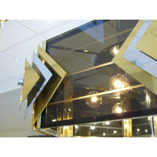 Brass Amazing Modernist Cityscape Style Mixed Metal & Lucite Chandelier For Sale - Image 7 of 10