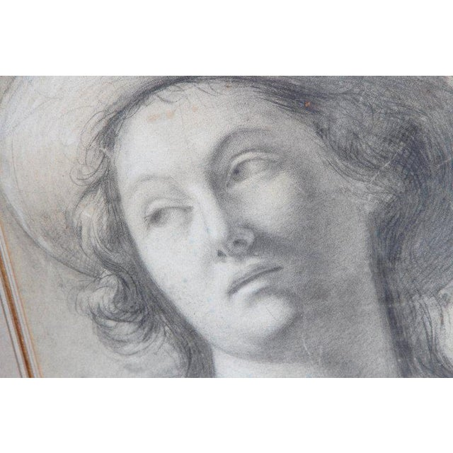 Late 18th Century 18th Century Charcoal Drawing of a Young Lady Wearing a Hat For Sale - Image 5 of 13