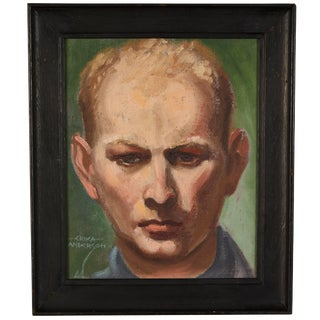 Erika Anderson 1940s Portrait Painting For Sale
