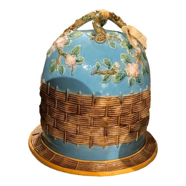 George Jones Majolica Apple Blossom Cheese Dome For Sale