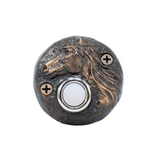 Round Horse Doorbell with Traditional Patina For Sale