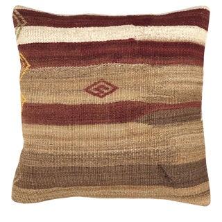 "Neutral Stripe Vintage Kilim Pillow 20"" For Sale"