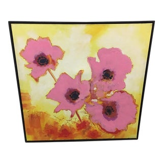 1960's Vintage Painting of Poppies by J Wallker For Sale