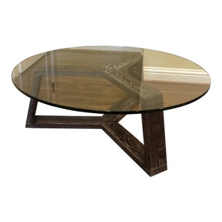 West Elm Glass Coffee Table For Sale