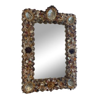 1970s French Coquillage Mirror With Semi-Precious Stones and Shells For Sale