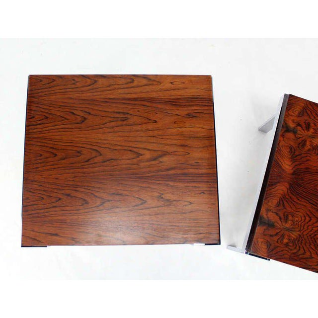 Pair of Baughman Rosewood & Chrome Mid-Century Modern End Tables For Sale In New York - Image 6 of 8