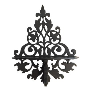 Brocade Design Iron Wall Shelf For Sale
