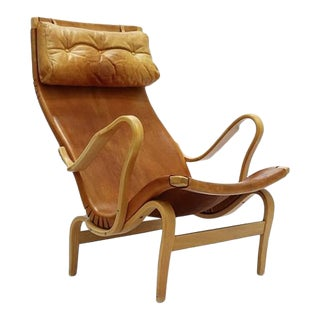Rare Pernilla 2 Chair in Original Leather by Bruno Mathsson, Sweden, 1950s For Sale