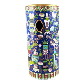 Antique Chinese Cloisonne Keyhole Cylinder Vase For Sale