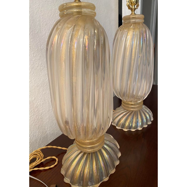 1950s 20th Century Murano Table Lamps, Italian Lamps by Barovier & Toso For Sale - Image 5 of 12