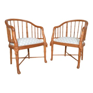 Hollywood Regency Napoleon Style Faux Bamboo Barrel Back Chairs in Teak For Sale