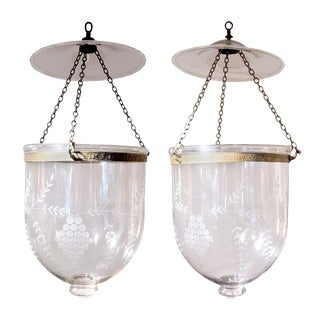 Pair of Hand Blown Glass Bell Jar Lanterns With Grape Etching For Sale