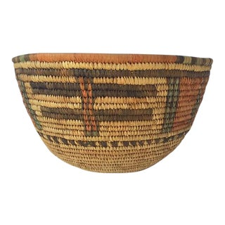 Vintage African Hand Woven Basket Bowl Hausa Tribal Basket 12""