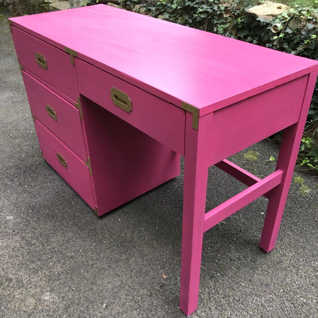 Campaign Campaign Style Hot Pink and Brass Single Pedestal Desk For Sale - Image 3 of 7