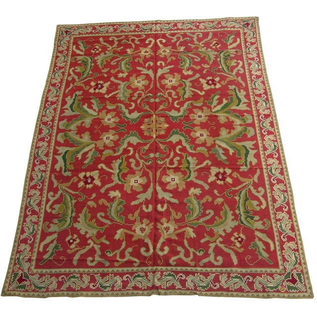 1920s Antique Handmade Portuguese Needlepoint Rug - 11'9'' X 8'6'' For Sale