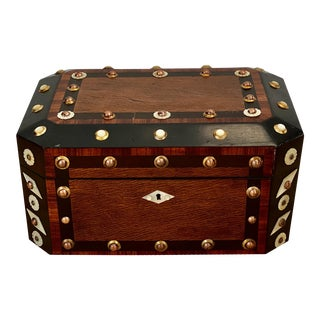 Late 19th Century Victorian Exotic Wood Mother of Pearl & Copper Box For Sale
