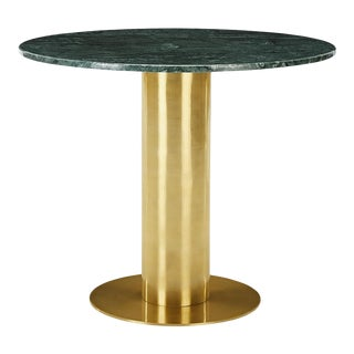 Tom Dixon Tube Dining Table Brass Green Marble Top 900mm For Sale