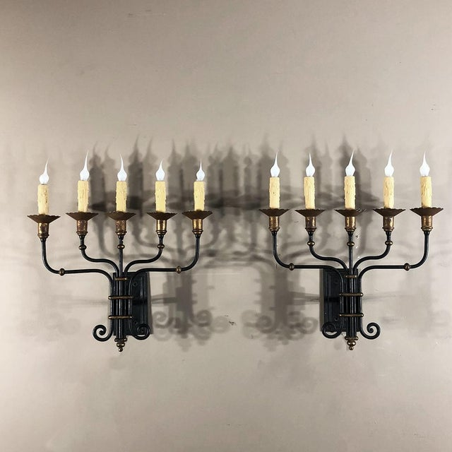 Gold Pair Mid-Century Hand Forged Wrought Iron Country French Iron Sconces With Bronze Accents For Sale - Image 8 of 12