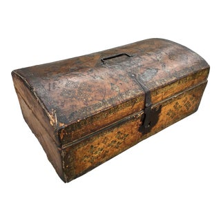 Antique 17th Century Tooled Leather Box For Sale