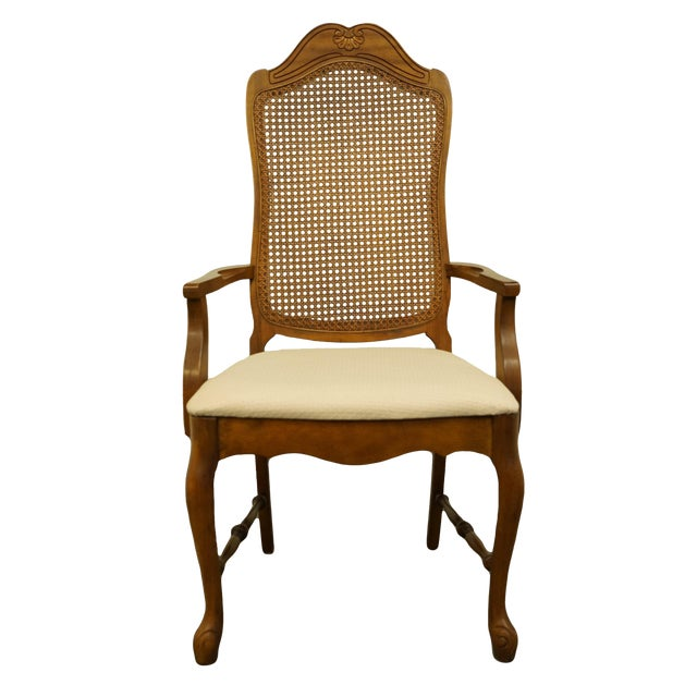 Late 20th Century Vintage Bernhardt Furniture French Provincial Cane Back Dining Arm Chair For Sale