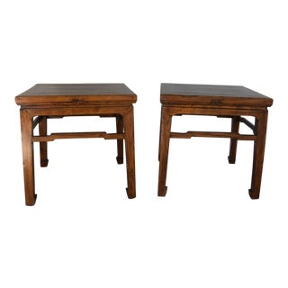 1920s Chinese Carved Elm Wood Tables - a Pair For Sale