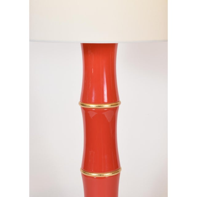 Orange Porcelain Table Lamp With Gold Wood Base - a Pair For Sale - Image 4 of 9