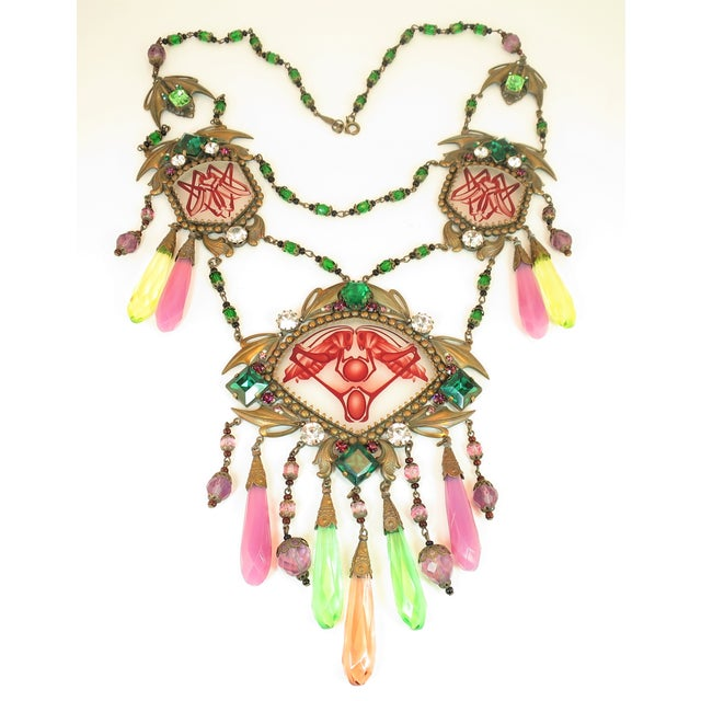 Massive Czech Art Deco Egyptian Revival Painted Glass & Crystal Necklace 1920s For Sale - Image 12 of 12