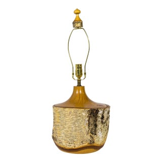 1950s Mid Century Solid Birch Tree Bark Table Lamp With Finial For Sale
