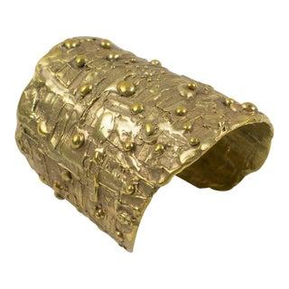 Oversized Artisan Designer Studio Brutalist Brass Cuff Bracelet For Sale