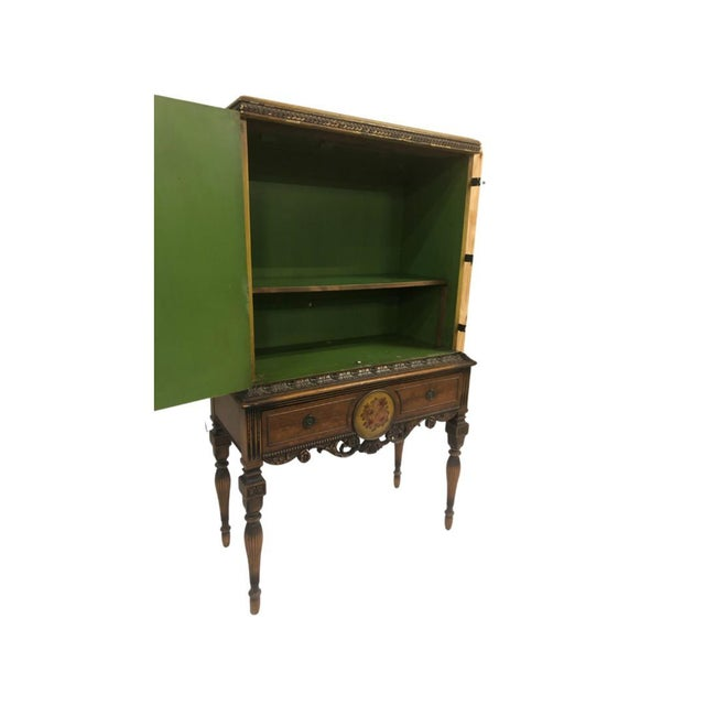 1920s 1920's Chinoiserie Yellow Cabinet Armoire Bar Cabinet For Sale - Image 5 of 7
