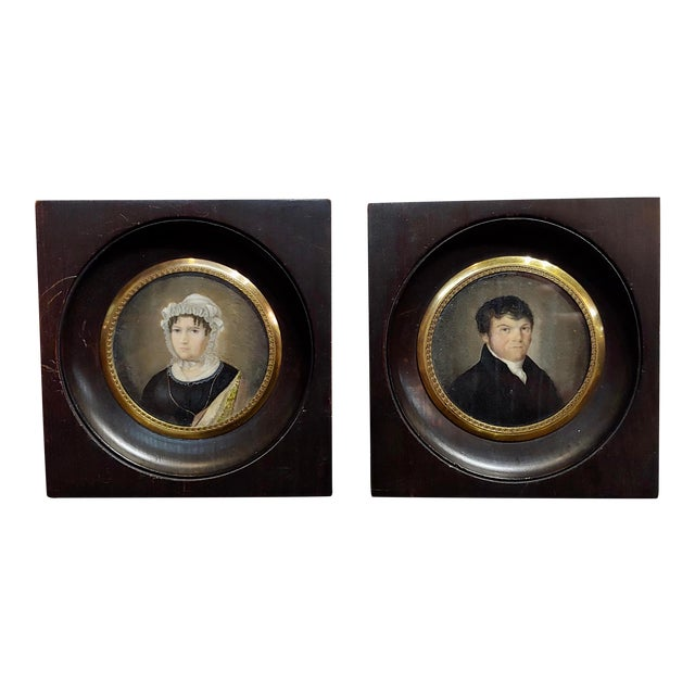 18th Century English School Husband & Wife Portraits Miniature Paintings - a Pair For Sale