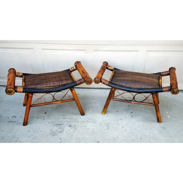 Animal Skin 1960s Boho Chic Bamboo and Rattan Foot Stools - a Pair For Sale - Image 7 of 7