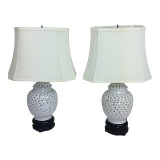1980s Mid-Century Modern Blanc De Chine Preicered Table Lamps - a Pair For Sale