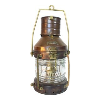 1950s Antique Anchor Shipping Lantern. Copper and Brass Oil Burning Lantern For Sale