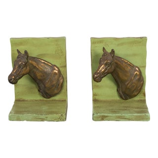 Metal and Brass Horse Bookends C.1940 - a Pair For Sale
