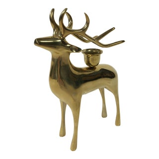 Brass Reindeer Candlestick For Sale
