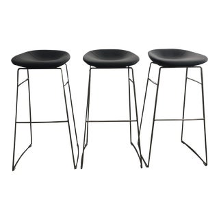 Calligaris Palm Gray Upholstered Bar Stools - Set of 3 For Sale