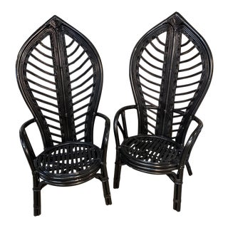 Vintage Rattan Dining Chairs - A Pair For Sale